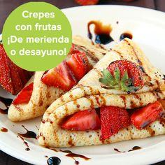 Crepes con frutas, para la merienda, el desayuno...¡o cuando quieras! http://www.guiainfantil.com/recetas/postres-y-dulces-para-ninos/frutas/crepes-con-frutas-merienda-sana-para-los-ninos/
