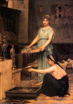 'the house gods' by John William Waterhouse (1849-1917, Italy)