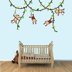 Baby Boy Monkey Wall Decals Monkey Decal by NurseryDecalsNMore