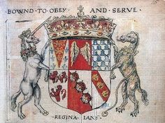 Queen Jane Seymour's Crest and Motto, 'Bound to Obey and Serve'.