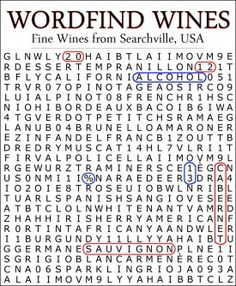 Fun word search puzzle customizable wine label...contains over 50 hidden wine types.