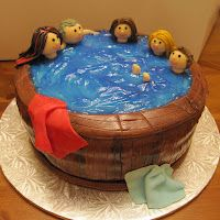 Everybody in the hot tub cake
