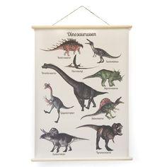 Retro schoolplaat met dinosaurussen. Nieuwe schoolplaten met een vintage look. Onmisbaar in de kinderkamer!