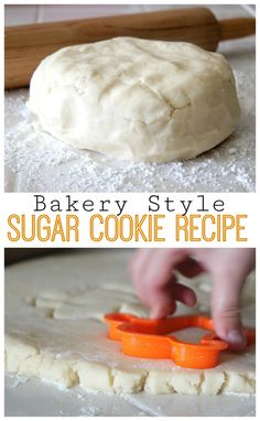 cut out cookies Every family has a favorite sugar cookie recipe ours is perfectly soft all the way through and they keep their shape, this bakery style sugar cookie recipe is hard to beat! Theres also a bonus frosting recipe you can put on them. Bakery Style Sugar Cookie Recipe, Roll Out Sugar Cookies, Favorite Sugar Cookie Recipe, Soft Sugar Cookie Recipe, Cookie Bakery, Sugar Cookie Dough, Yummy Cookies, Baby Cookies, Heart Cookies