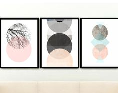 Abstract Art Prints, Scandinavian Art, Geometric Art by exileprints Wall Art Prints, Poster Prints, Green Wall Art, Grey Art, Geometric Wall Art, Scandinavian Art, Pink Art, Watercolor Print, Printable Art