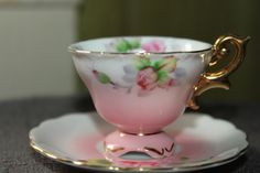 Vintage Miniature Tea Cup and Saucer Occupied Japan Pink And White Flowers