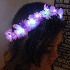 Mini LED Light up Flower Crown for Festivals, EDC, EDM Raves or Concerts pin with bobby pins Vestidos Neon, Edm Outfits, Luau Outfits, Electric Daisy Carnival, Diy Flower Crown, Diy Flowers, Flower Crowns, Festival Outfits, Festival Fashion