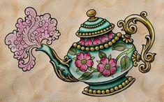 Teapot tattoo design by Amy Williams, just gorgeous. Flash Art Tattoos, 1 Tattoo, Tattoo Drawings, Tattoo Shop, Teapot Tattoo, Dibujos Tattoo, Tatuagem Old School, Neo Traditional Tattoo, Future Tattoos