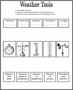 Weather Tools Worksheet This could be a great worksheet to use after going over the different tools we use to measure weather! KC