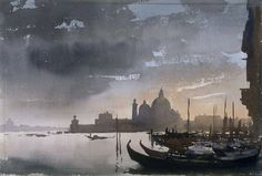 Edward Seago (1910 — 1974, UK) Evening After the Storm in Venice. 1961 watercolor on paper. 35.9 x 53.6 cm. #watercolor jd