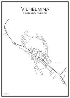 Vilhelmina. Lappland. Sverige. Sweden. Map. City print. Print. Affisch. Tavla. Tryck.