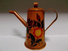 Metal Hand Painted Toleware Coffee Tea Pot Vintage Home Decor Signed ***ALSO SEE Vintage Jewelry at: http://MyClassicJewelry.com/shop
