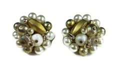 Vintage Earrings Gold White Cluster Bead Japan