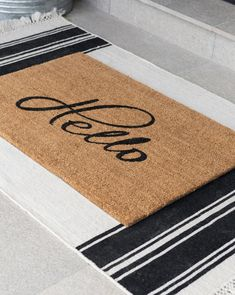 Hello Doormat McGee & Co. - Outdoor Rugs - Ideas of Outdoor Rugs Front Door Rugs, Front Door Decor, Front Porch, Indoor Outdoor Rugs, Outdoor Doormats, Art Abstrait, Welcome Mats, Interior Exterior, Porch Decorating