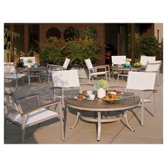 """Travira 48"""" Metal/Faux Wood Patio Round Coffee Table"""