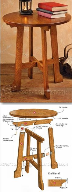 Arts and Crafts End Table Plans - Furniture Plans and Projects - Woodwork, Woodworking, Woodworking Plans, Woodworking Projects Woodworking Furniture Plans, Woodworking Projects That Sell, Fine Woodworking, Woodworking Crafts, Woodworking Basics, End Table Plans, Coffee Table Plans, Easy Wood Projects, Project Ideas