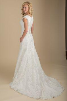 Emmeline  -  www.clairecalvi.com,  Claire Calvi -modest wedding dress, wedding dress with sleeves, illusion neckline, lace wedding dress
