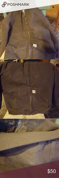 Women's Carhartt Jacket This jacket is super warm and in near perfect condition. Only worn a handful of times. Only minor flaw is a few snags on the back bottom of the jacket (not visible when worn, hardly visible in general). Chocolate brown color, black on the inside. Will sell or trade for a large Carhartt. Carhartt Jackets & Coats