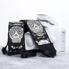 Dia de los Muertos Glow in the Dark Camera Strap - Sugar Skulls