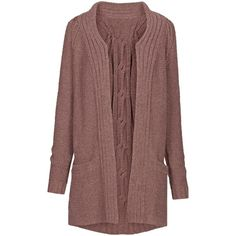 Fat Face Chilton Cable Cardigan, Elderberry ($63) ❤ liked on Polyvore featuring tops, cardigans, cable knit cardigan, long sleeve open front cardigan, longline cardigan, brown cable knit cardigan and longline tops