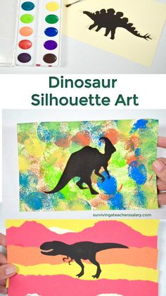 These dinosaur art activities are GREAT for sensory craft time! There are 4 different ideas that you can do with household craft supplies! Dinosaur Art Projects, Dinosaur Crafts Kids, Dino Craft, Dinosaurs Preschool, Preschool Activities, Dinosaurs For Kids, Dinosaur Silhouette, Kids Silhouette, Art Activities For Kids