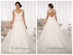 Beaded Cap Sleeves Sweetheart A-line Keyhole Back Wedding Dresses