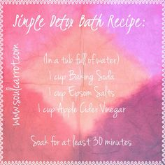 Bath Detox cup Baking Soda, 1 cup Epsom Salts, 1 cup Apple Cider Vinegar in a tub full of water. relaxing-esp during menstrual cycle Detox Bad, Body Detox Cleanse, Detox Bath Recipe, Bath Detox, Home Remedies For Uti, Health Remedies, Natural Remedies, Bath Recipes, Detox Recipes