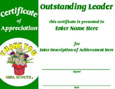 Girl Scout Leader Apreciation Certificate  To Save Certificate On