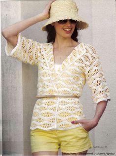 Crochetemoda: Crochet - Casaqueto Amarelo e Branco with diagrams