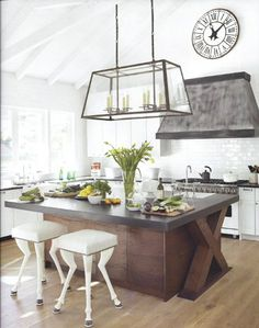 A modern country kitchen is adorned with unique accents, such as a leaded glass kitchen island light and stools that look like animal legs. (via Kitchen Inspirations / abode love: a man& home is his wife& castle) Kitchen Interior, New Kitchen, Awesome Kitchen, Kitchen Wood, Design Kitchen, Kitchen Ideas, Kitchen Backsplash, Glass Kitchen, Crisp Kitchen