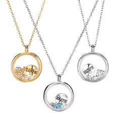 Adorable and inspirational charms float in a glass locket filled with glistening faux stones. Offered in silvertone (hope), goldtone (love), and silvertone (faith). Regularly $15.99, buy Avon Jewelry online at http://eseagren.avonrepresentative.com