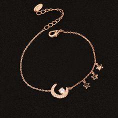 Elegant Moon Star Cubic Zirconia Bracelets Chain Charm Bracelet White Gold Color Sl434 Wholesale 10pcs/lot