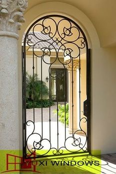 Classic cheap strong wrought iron doors and glass for commercial building