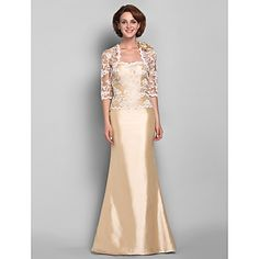 Trumpet/Mermaid Sweetheart Floor-length Taffeta And Lace Mother of the Bride Dress (618844) – USD $ 199.99
