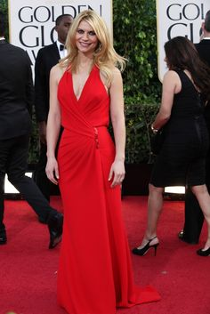Claire Danes in Versace On the Red Carpet at the Golden Globes    [Photo by Katie Jones]