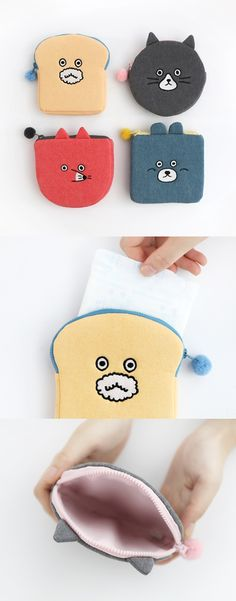 Adorable! Toast & animal themed designs make the Brunch Brother Pom Pom Pouch a suuper cute accessory! Use it to adorably carry and organize everything from feminine hygiene products to stickers, stationery, earphones, and more! Check it out~