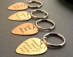 Personalized Guitar Pick Keychains groomsmen gifts wedding party gifts/favors by Sapphire9Jewelry