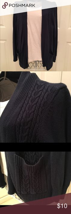 Navy Blue Size XLP Cardigan Buttonless cardigan in navy blue. Size extra large petite. Worn several times. Slight pulling at armpits but not really noticeable. Laura Scott Sweaters Cardigans