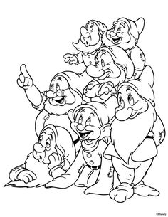 Kids Under 7 Snow White And The Seven Dwarfs Coloring Pages