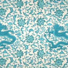 Scalamandre CHIEN DRAGON TURQUOISE ON EGGSHELL Fabric