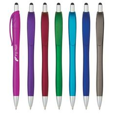 Go with sleek, vibrant color with the combined tech and writing function of the Evolution Stylus Pen. This plunger action pen features a stylus on the top and is available in your choice of color. Writing Offices, Trade Show, Stylus, Custom Logos, Smudging, Evolution, Vibrant Colors, Office Supplies, Ink