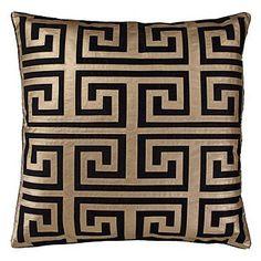 Greek Key Black and Gold Decorative Pillow - Black and Gold Interiors - Celebrate and Decorate