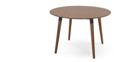Edelweiss Round Dining Table, Walnut and Black