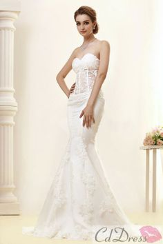 Charming Trumpet Sweep Train Lace Wedding Dress