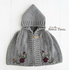 Crochet Cape with flowers by Over The Apple Tree