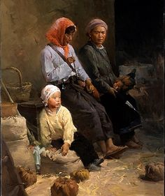 Farm Family by Mian Situ [司徒绵  was born In 1953 In Canton (now Guangdong) Southern China]