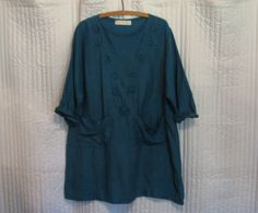 linen tunic/dress blouse top in teal green by linenclothing