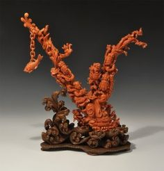 Chinese Coral Carving With Youthful Figures