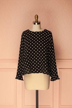 Black polkadots blouse with frills - Blouse noire à pois noire et volants