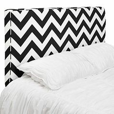 Beautiful IDEA! Easy shape for headboard! Hollywood chic in a classic black and white chevron pattern.